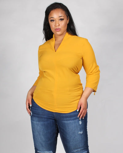 Style Wins V-Neck Plus Blouse 1X / Mustard Tops