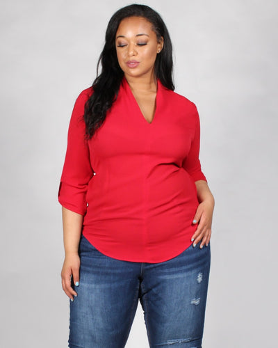 Style Wins V-Neck Plus Blouse 1X / Red Tops