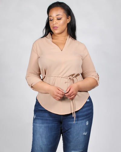 Style Wins V-Neck Plus Blouse 1X / Taupe Tops