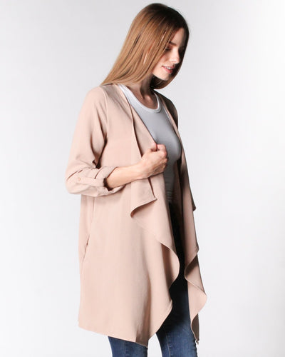Sweet Fantasy Draped Collar Jacket Outerwear