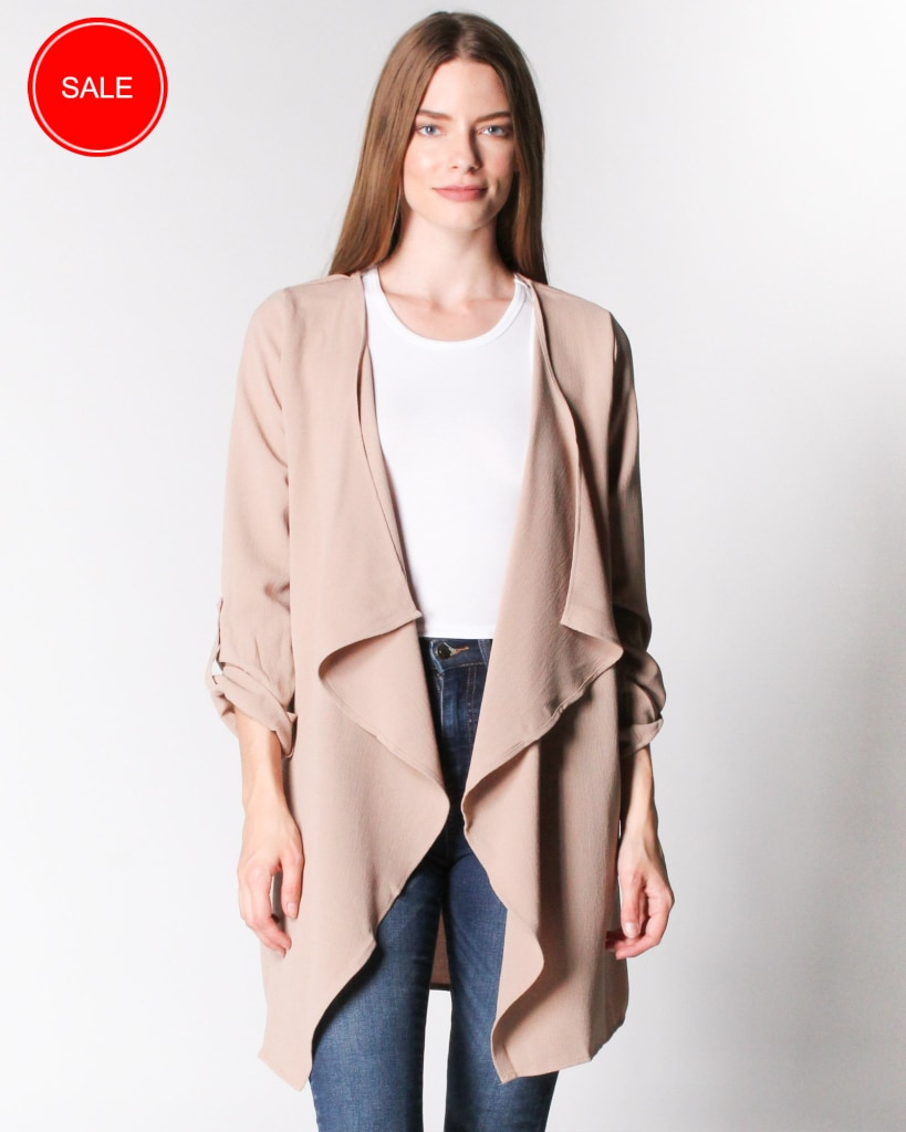 Sweet Fantasy Draped Collar Jacket S / Dusty Taupe Outerwear