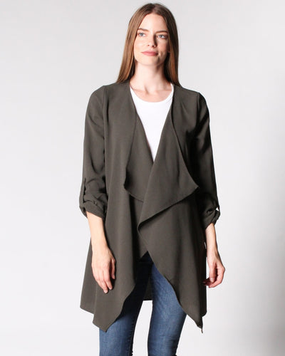 Sweet Fantasy Draped Collar Jacket S / Olive Outerwear