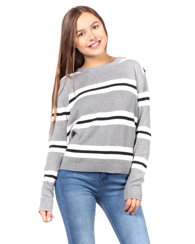 Sweet Stripes Of Mine Sweater S / Grey