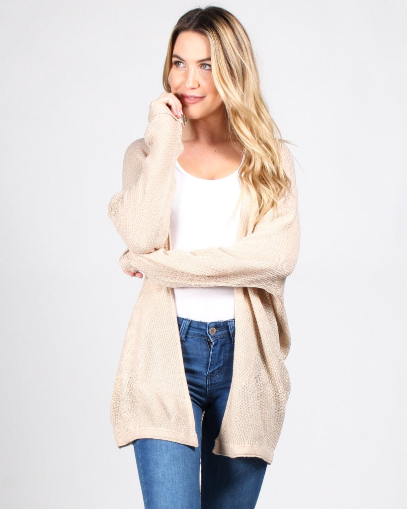 Fashion Q Shop Q Tag You're It Cardigan (Oatmeal) 50952