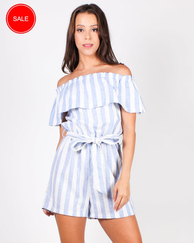 Take A Striping Leap Of Faith Romper (Sky Blue) Sky Blue / S