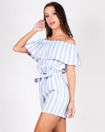 Take A Striping Leap Of Faith Romper (Sky Blue)