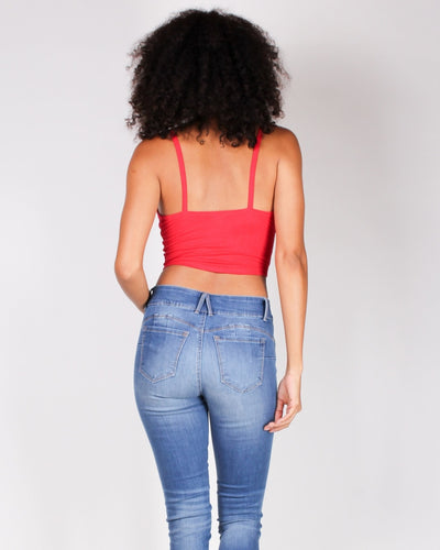 Take Me As I Am Crop Top (Dark Red) Tops