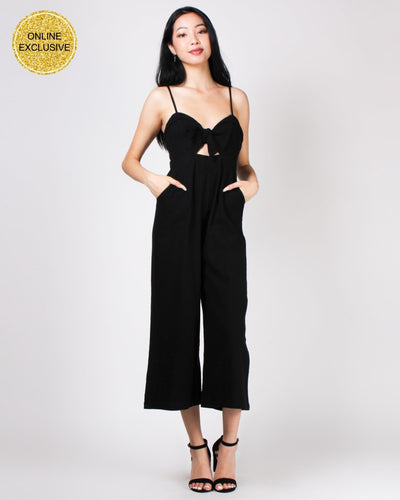 Take Me Or Leave Me Knotted Bliss Jumpsuit Black / S
