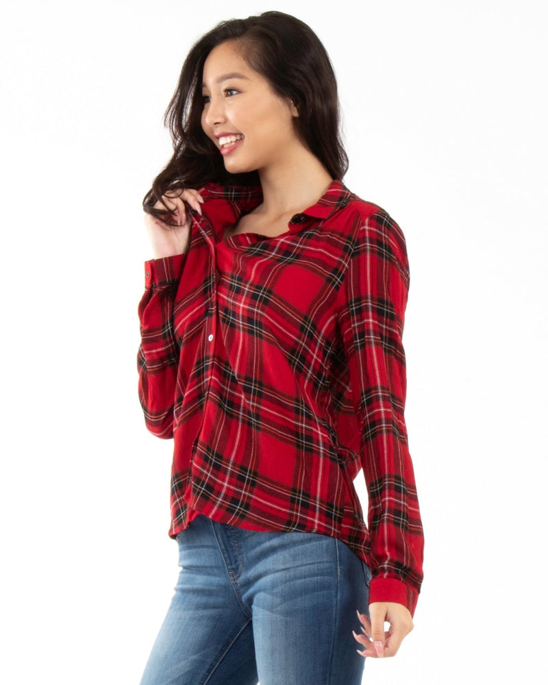 Take Me To Ireland Button Down S / Red Plaid Tops