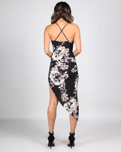 The Art Is In The Floral Asymmetrical Bodycon Dress