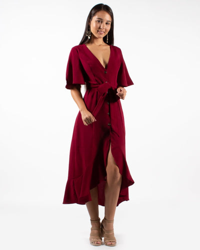 The Attention Grable Dress S / Burgundy Dresses