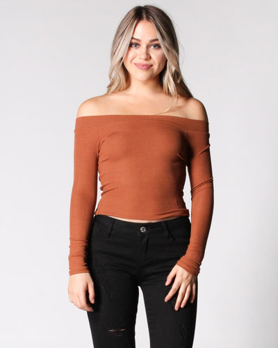 The Bare Maximum Off Shoulder Top S / Camel Tops