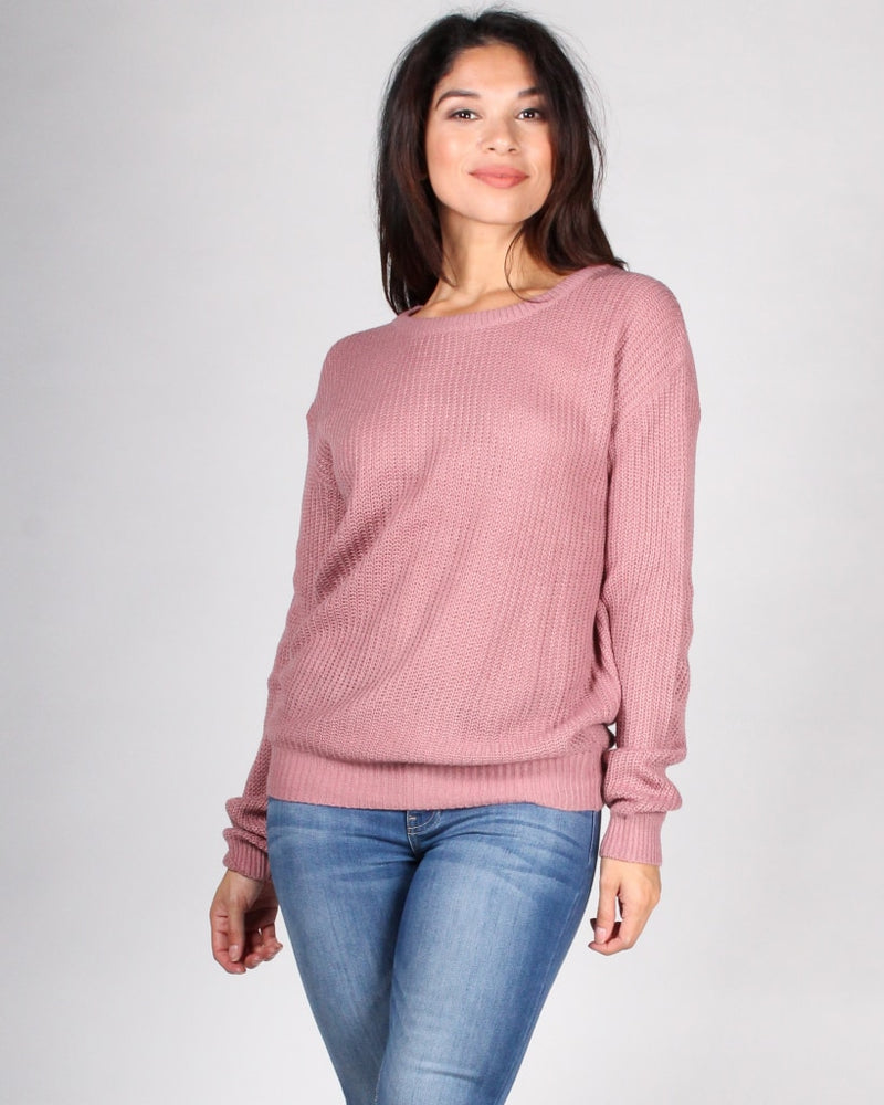 The Bare Me Open Back Sweater S / Mauve