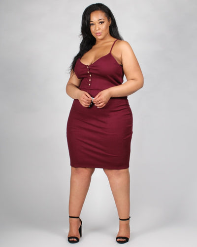 The Be My Lovah Plus Bodycon Dress 1X / Burgundy Dresses