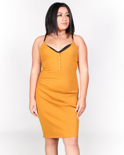 The Be My Lovah Plus Bodycon Dress 1X / Mustard Dresses