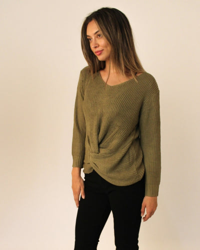 The Blair Knit Sweater S/m / Olive Tops