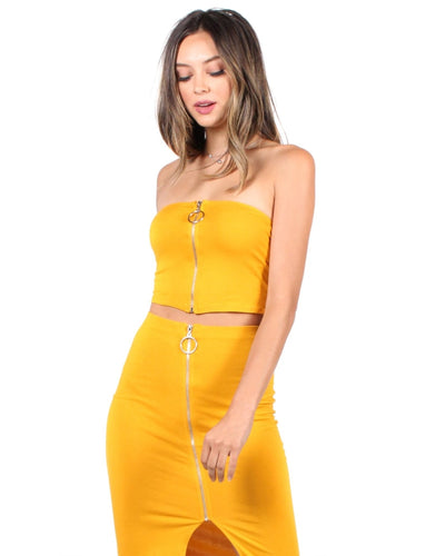 The Bombshell Beauty Crop Top S / New Mustard