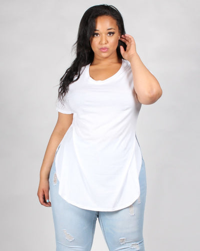 The Femme Fatale Short Sleeve Plus Top 1X / White Tops