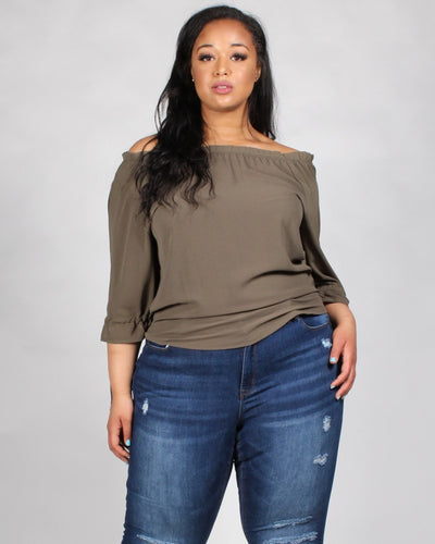 The Flow Rida Off The Shoulder Plus Blouse 1X / Olive Tops