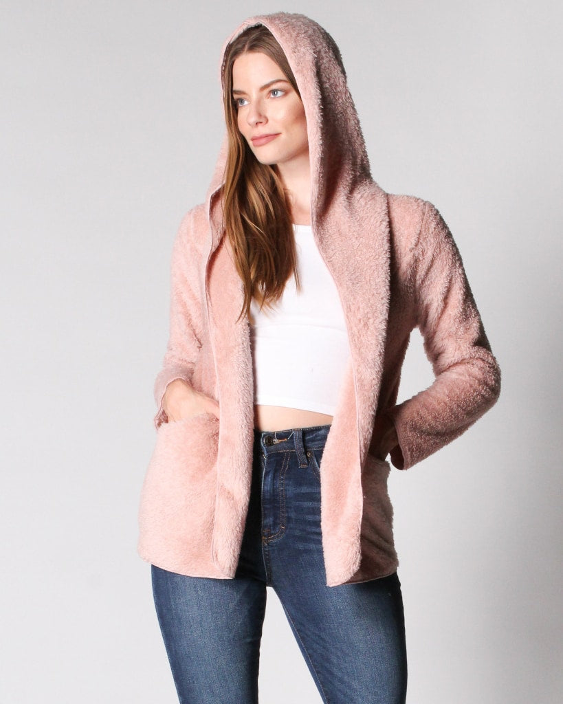 The Fluffing Best Faux Fur Jacket S / Dusty Pink