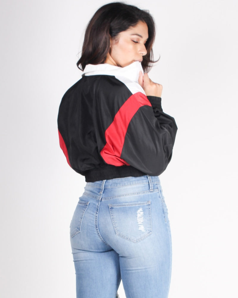 The Goddess In Me Cropped Windbreaker (Black) Black / S Outerwear