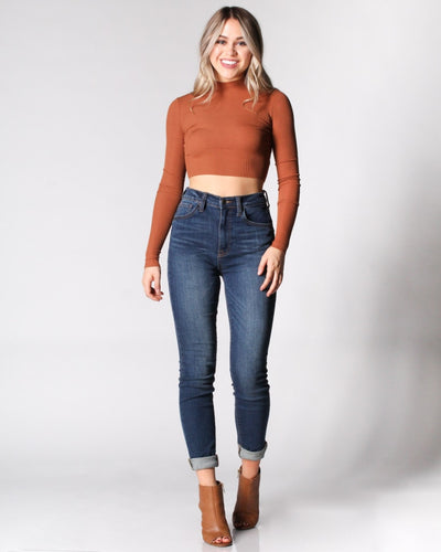 The Golden Days Cropped Mock Turtleneck Top Tops