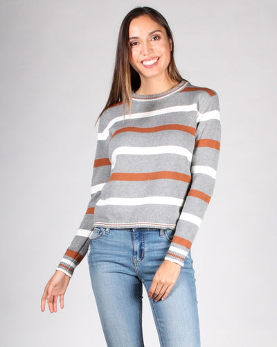 The Happy Ending Striped Sweater S / Grey Combo