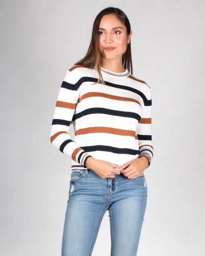 The Happy Ending Striped Sweater S / Ivory Combo
