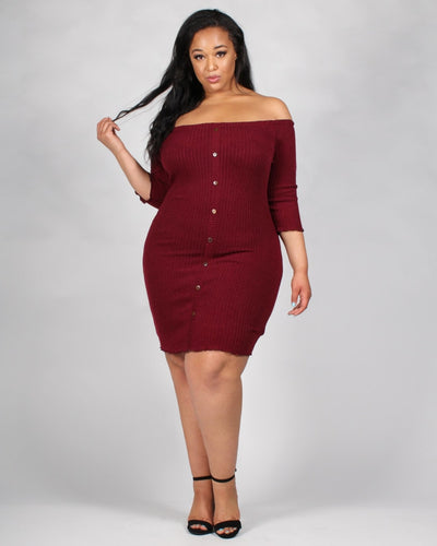 The Invitation Only Plus Dress 1X / Burgundy Dresses