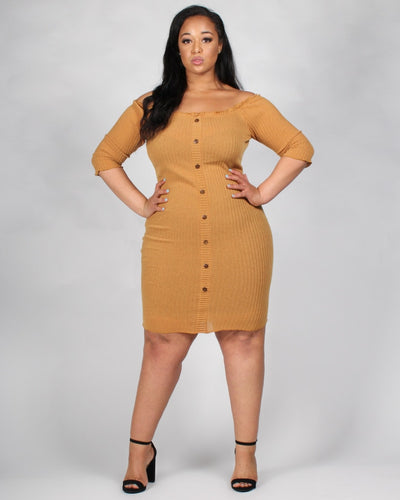 The Invitation Only Plus Dress 1X / Mustard Dresses