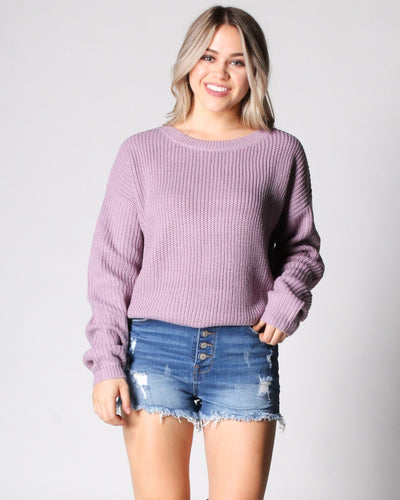 The Knit Tease Sweater S / Lilac Tops