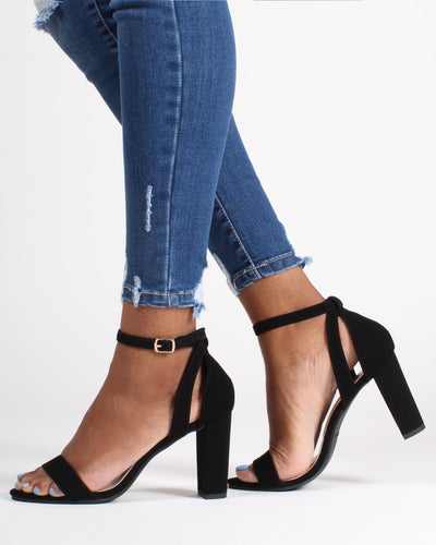 The Manchester Open Toe Heels 5 / Black Shoes