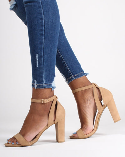 The Manchester Open Toe Heels 5 / Tan Shoes