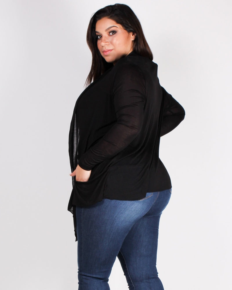 The Michelle Plus Cardigan (Black) Black / 1X Outerwear