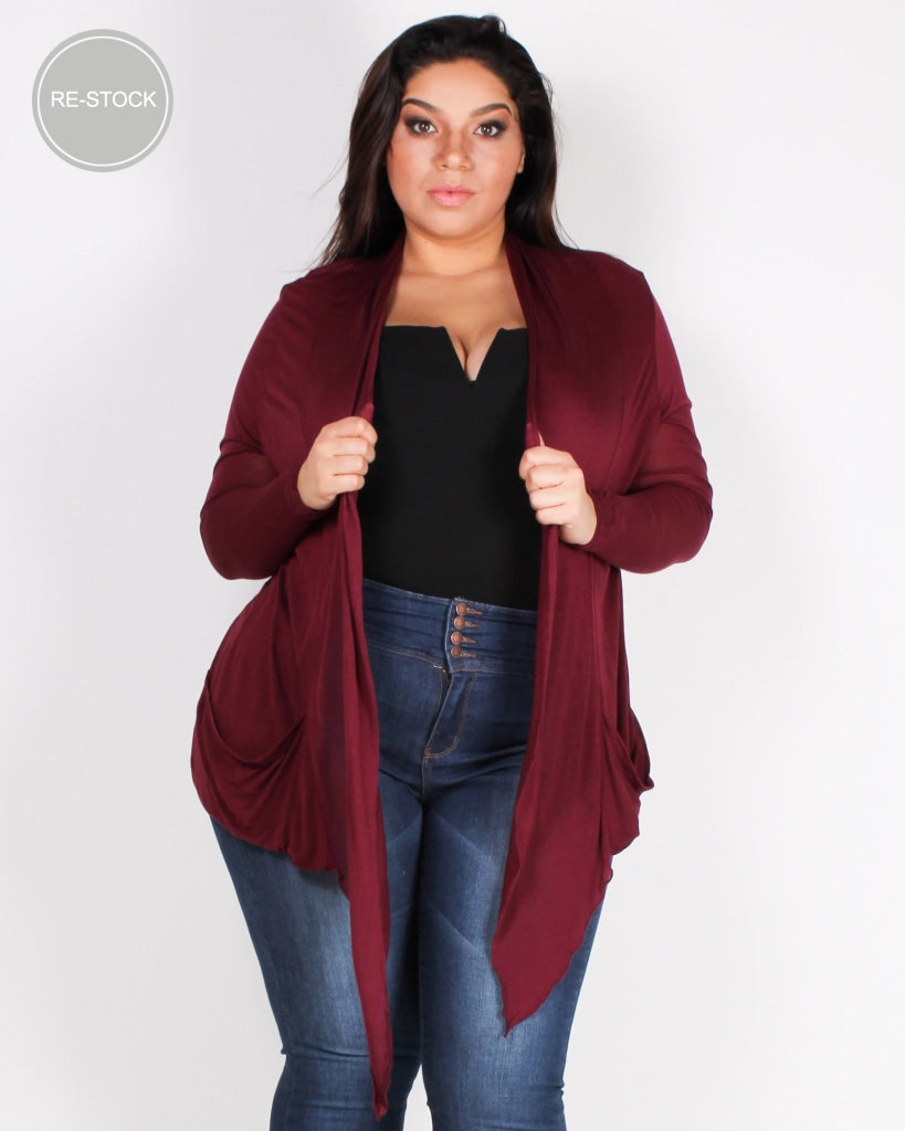 The Michelle Plus Cardigan (Burgundy) Burgundy / 1X Outerwear