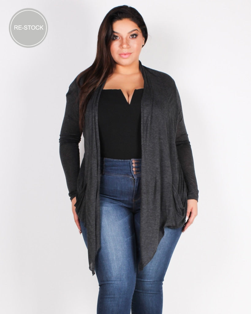 The Michelle Plus Cardigan (Charcoal) Charcoal / 1X Outerwear