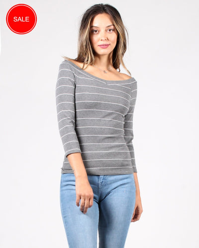 The Millie Stripes Top S / Grey And White Stripe Tops