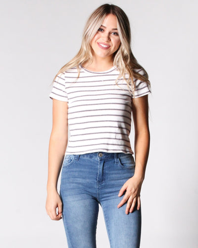 The Never Let You Down Striped Tee S / Ivory