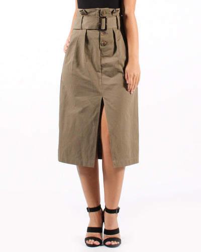 The New Rules Skirt High Waisted Belted S / Olive Bottoms