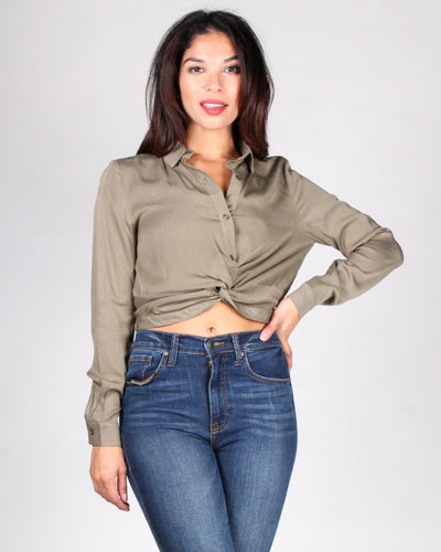 The Oasis Button Up Crop Top S / Olive
