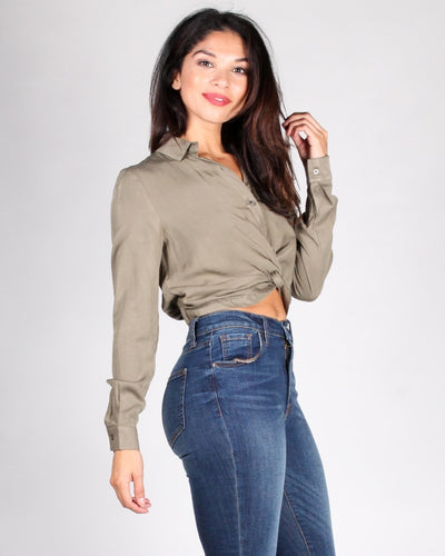 The Oasis Button Up Crop Top
