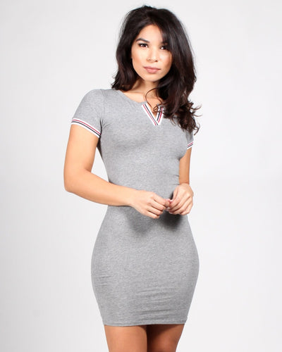 The Plastic Girl Bodycon Dress S / Heather Grey Dresses