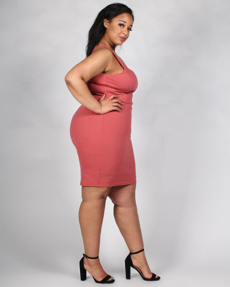The Powerhouse Bodycon Plus Dress 1X / Mauve Dresses