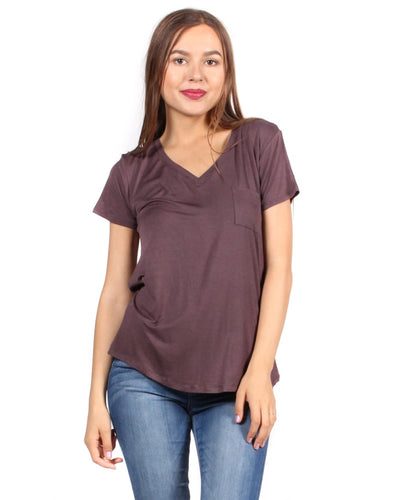The Q Basics: Complete You Short Sleeve Top S / Plum Brown