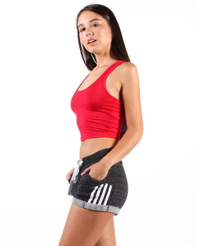 The Q Basics: Feel So Fine Basic Cropped Tank Top (Red) Tops