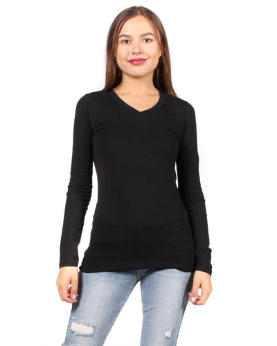 The Q Basics: Long Sleeve V-Neck Top S / Black Tops