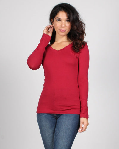 The Q Basics: Long Sleeve V-Neck Top S / Burgundy Tops