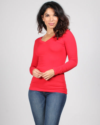 The Q Basics: Long Sleeve V-Neck Top S / Red Tops