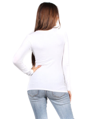 The Q Basics: Long Sleeve V-Neck Top Tops