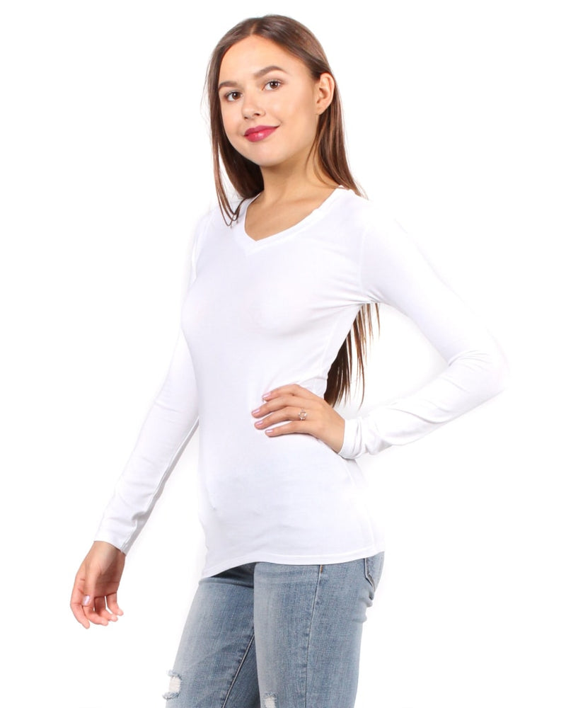 5552bc44f72 The Q Basics  Long Sleeve V-Neck Top S   White Tops